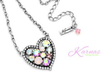 FROM THE HEART Mixed Size Crystal Halo Necklace Swarovski Elements *Antique Silver *Karnas Design Studio *Free Shipping*
