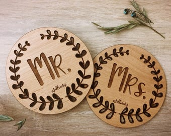 Mr and Mrs Mugs Personalized Coasters, Lacquered Wood Coaster, Monogram Coaster, Inexpensive Wedding Favors, Wedding Gifts for Bride -09