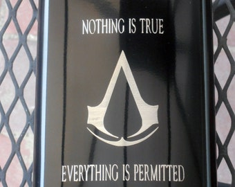 Assassins Creed Flask !! New Design!, 8 ounces, Black, Engraved!