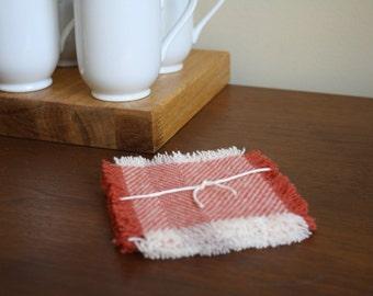 Red + Cream Herringbone Pendleton Wool Coasters - Set of 4