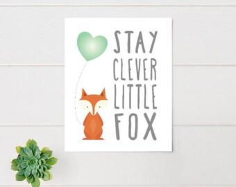 Nursery Wall  Art, Woodland Nursery, Stay Clever Little Fox, printed, canvas, framed #557