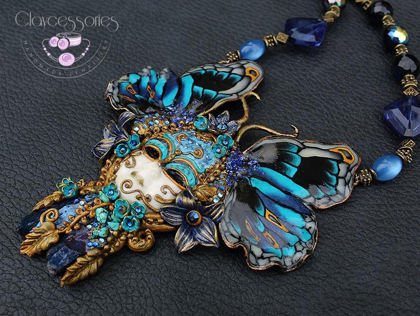 Butterfly necklace / Butterfly jewellery / Art Nouveau necklace/Venetian mask / Moth necklace/Statement necklace/Polymer clay jewellery