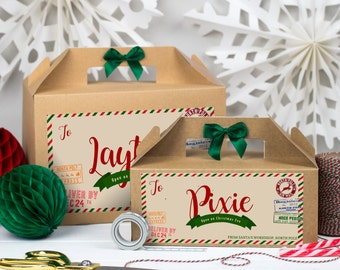 Personalised Christmas Eve Gift Box | PARCEL FROM SANTA | Kraft box with ribbon bow