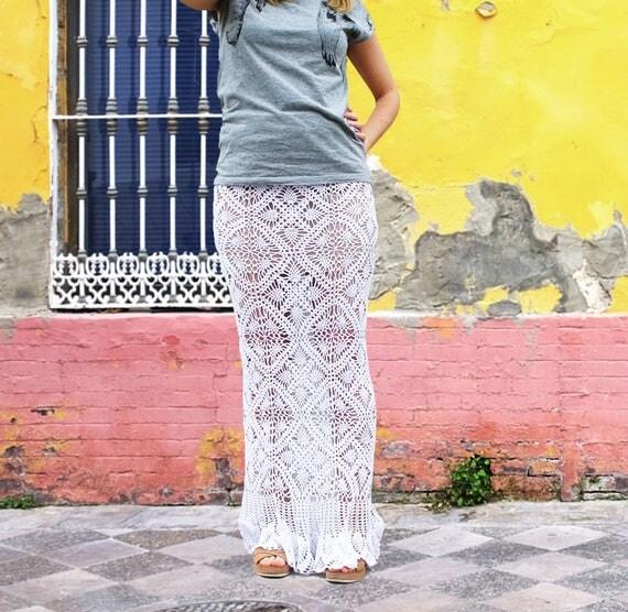 Crochet Maxi Skirt Pattern Crochet Pattern White Crochet Skirt Long Crochet Skirt Summer Crochet Skirt Pineapple Crochet Skirt Lace Skirt