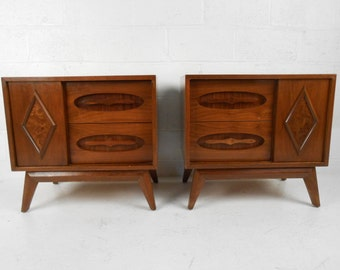 Pair Mid-Century Modern Nightstands with Sliding Sculpted Fronts (7336JR)