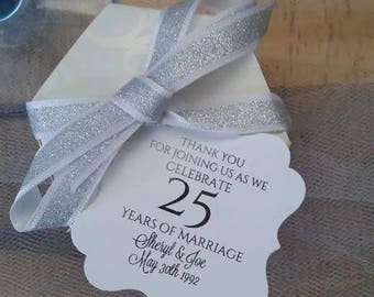 Beautiful Metallic Silver Foil Tags PERSONALIZED For Your 25th Wedding Anniversary Favor Thank You Hang