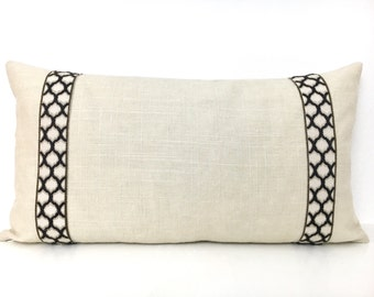 Off-White Lumbar Pillow Cover with Charcoal Trim