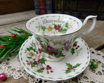Vintage Royal Albert Flower of the Month Series - Christmas Rose - December - Cup and Saucer