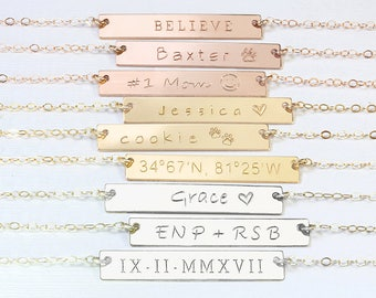 Personalized Gold Bar Necklace, Engraved Custom Name Necklace Rose Gold Bar Monogram Roman Numerals necklace Coordinates Bridesmaid gift