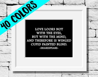 Shakespeare Quotes, Literature Gifts, Love Quotes, Shakespeare Art Print, Love Decor, Literature Print, William Shakespeare, Love Wall Art