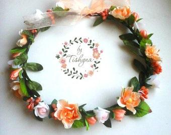 Valintine's day Boho wedding white flower crown bride baby wreath newborn headband headpiece woodland Flower girl bridesmaide bridal ivory