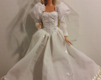 "B 066  1880's Handmade Inspired Wedding Gown and Veil for Barbie and other 11 1/2"" fashion dolls"
