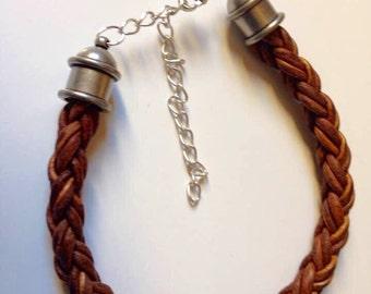 Leather Cuff Bracelet, Natural Brown Bracelet, Brown Leather Bracelet,Brown Braided Bracelet, Leather Braided Bracelet, Boho Cuff Bracelet