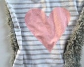 Pink gray heart lovey security blanket 16 inches x 16 inches, minky, hearts pastel nursery, girl baby shower gift, toddler security blanket
