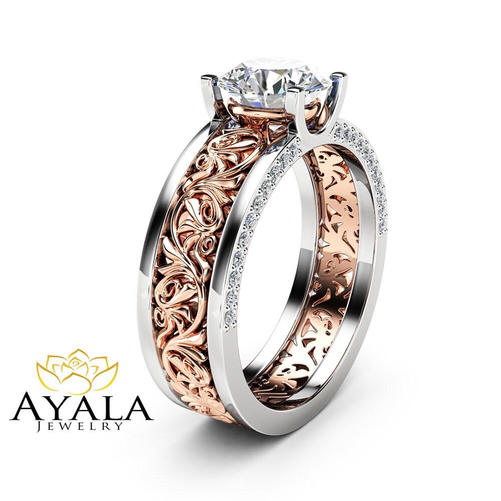 Art Deco Unique Diamond Wedding Ring 14k Two Tone Gold: Unique Art Deco Engagement Ring 14K Two Tone Gold 1.28 Carat