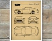 Patent Print, Auto Art, Ford Mustang Blueprint, Car Art, Muscle Car, Ford Mustang Poster, Sports Car Decor, P454