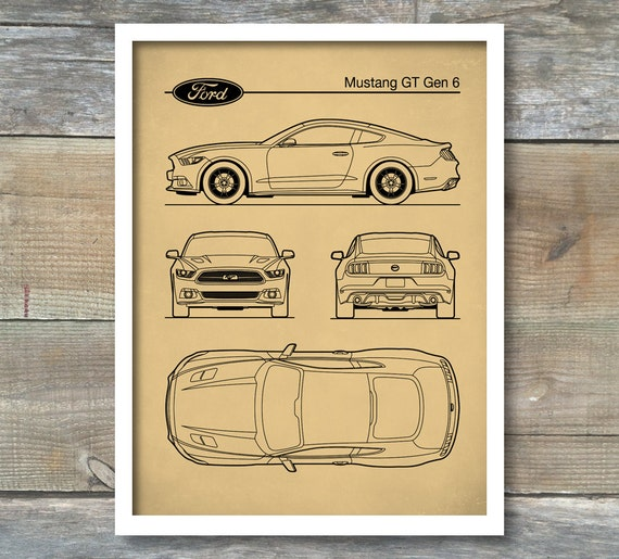 Patent print auto art ford mustang blueprint car art like this item malvernweather Image collections