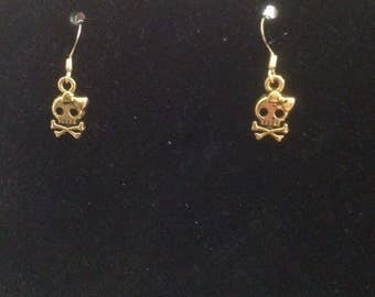 Skeleton with Bow Charm Earrings