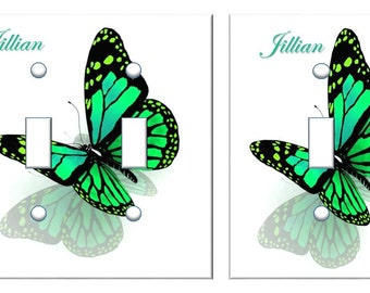 Personalized Green Butterfly light switch home decor // SAME DAY SHIPPING**