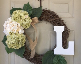 Monogram Hydrangea Wreath  - Spring Wreath -Summer Wreath - Year Round Wreath - Front Door Wreath - Monogram Wreath - Address Wreath
