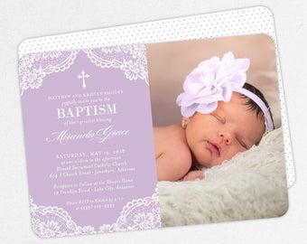 Photo Baptism Invitation, Christening Invitation, Girl Baptism Invite, Printable Baptism, PDF, DIY, Printed, Lace Invite, Purple, Miranda