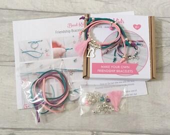 Bracelet, à pompon sirène Friendship Bracelet Kit, Kit de métier, Kit de bricolage bijoux, perles pour enfants, Bracelet en daim, talon-enfants, Kit de perles