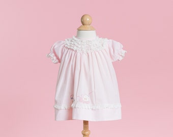 RESERVED//// Pale Pink Snail Appliqued Dress (Size 3 Months)