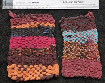 Pair of Handmade, recycled cotton Potholders in purples and oranges.
