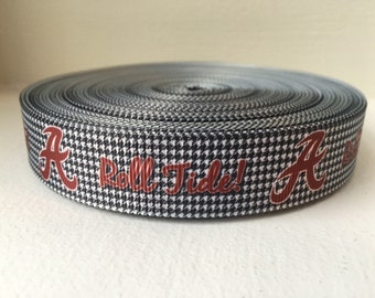 "1/3/5/7/10 Yards Alabama - Roll Tide Houndstooth - 7/8"" Grosgrain Ribbon"