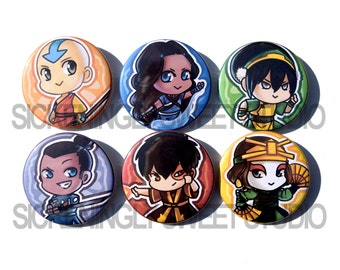 Set of 6 Avatar the Last Airbender Pinback Buttons