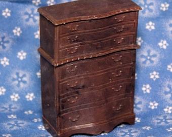 Renwal OLD BEDROOM HIGHBOY/Dresser Vintage Miniature Dollhouse Furniture 1:16