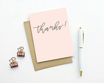 Thank You Card - Thanks Script (Blush) | Thank You Card, Hand Lettering, Modern Calligraphy, Neutral Colors