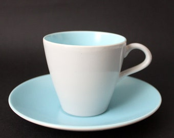 Poole Pottery Coffee Cup and Saucer, Baby Blue and Pale Grey