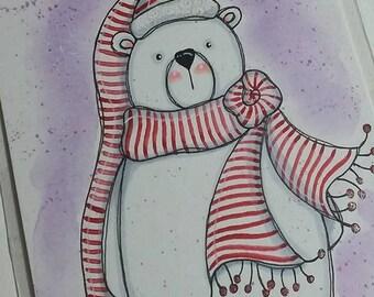 Polar Bear In Scarf & Hat Original mixed media painting 4x6 by Megan