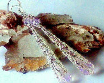 Silver filigree, Pink crystal Teardrop dangles, Silver  Earrings, Teardrop Earrings,  Crystal earrings, Pink and Lavender, Pink and Lilac