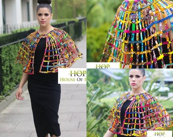 NEW PRICE FROM 69.95 to 57.95 Petiz Ndamoh African Print Net Cape - Free Button Earrings given