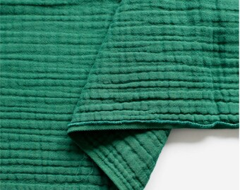 Crinkled Triple Gauze Fabric Green By The Yard