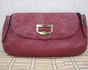 """Vintage """"Facondini Accessori """" Genuine leather wine red floral   purse"""