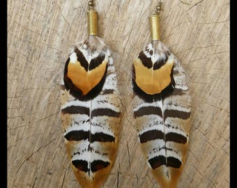 Recycled Bullet Shell Gypsy Boho Pheasant Feather Earrings