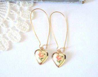 Pink Heart Earrings, Limoge Roses Earrings, Bridesmaid Earrings, Elongated Earrings, Long Gold Earring