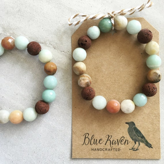 Amazonite Essential Oil Diffuser Bracelet Lava Stones And