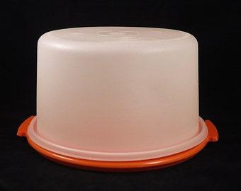 Vintage Tupperware Orange Cake Carrier Container