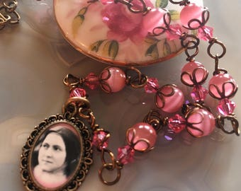 St. Therese, the Little Flower Graceful Vintaj Religious Pendant Wire-Wrapped, Handcrafted