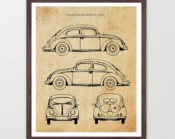 VW Beetle - 1952 VW Bug - Volkswagen Poster - Volkswagen Art - Volkswagen Beetle Poster - Volkswagen Beetle Patent - VW Patent - Vintage Car