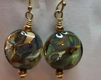 Multi Colored Lampwork Bead Earrings