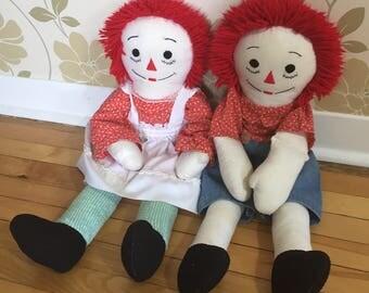 Vintage 1980s Handmade Raggedy Ann & Andy Rag Dolls!