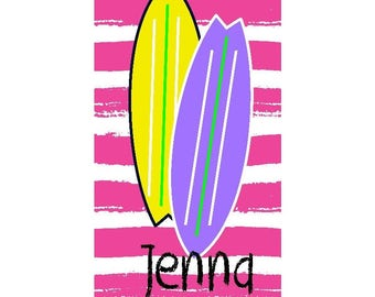 Surf Board Personalized Beach Towel - Surf Board - Beach Towel - Surfer - Pool Party - Surfer Girl