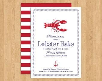 Shell/Lobster/Clam Bake Dinner Event/Rehearsal/Wedding Dinner Invitation