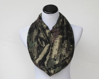 Elementree Camouflage scarf lichen green brown camo infinity scarf circle scarf loop scarf matching scarf for mom and child