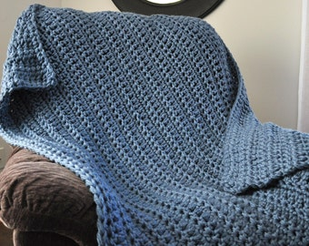 FREE SHIPPING-Crochet Blanket-Ultra Soft- Denim Blue-Gray, Super Bulky Yarn, Very Soft, Made with Two Strands For an Extra Thick Blanket